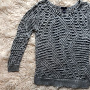 GAP Open Weave Gray Crew Neck Pullover Sweater